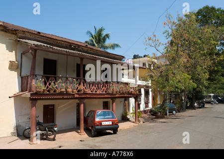 Houses in the old historic quarter of Fontainhas, Panaji or Panjim (the Goan capital city), Goa, India - Stock Photo