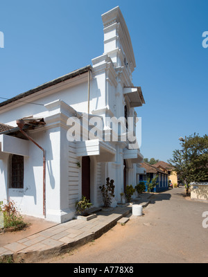 Church in the old historic quarter of Fontainhas, Panaji or Panjim (the Goan capital city), Goa, India - Stock Photo