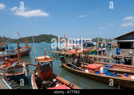 Local fishing boats at Tap Lamu pier, Khao Lak, Phang Nga, Thailand - Stock Photo
