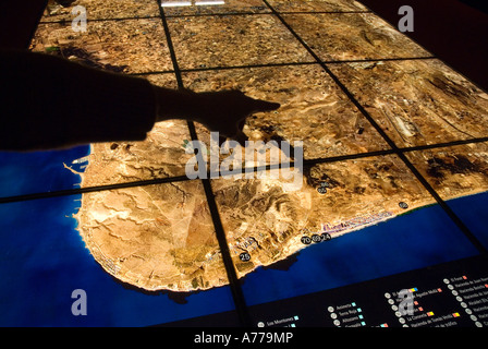 Archaeology sites of the region in a panel of Archaeology Museum / ELCHE / Spain - Stock Photo