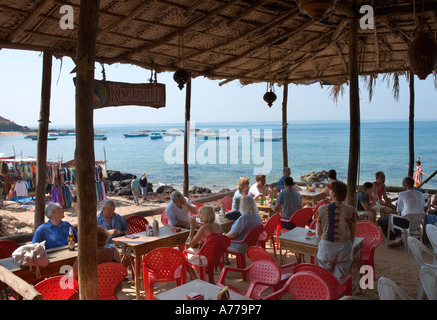 Local bar (known as a Beach Shack) on Anjuna Beach, North Goa, Goa, India - Stock Photo