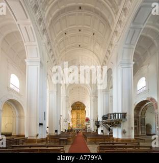 The Nave in the Cathedral (Se), Old Goa (Velha Goa), Goa, India - Stock Photo