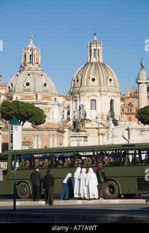 Basilica of Santa Maria di Loreto and Trajan Column ROME Lazio region Italy - Stock Photo