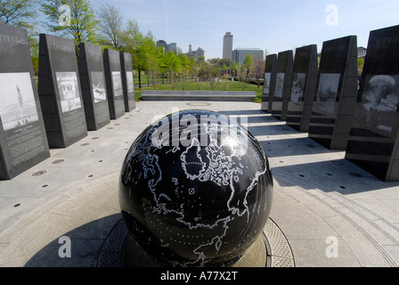 World War II Memorial in Tennessee Bicentennial Capitol Mall State Park Nashville Tennessee TN - Stock Photo
