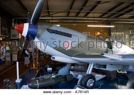 RAF Manston Museum, Spitfire XVI, side view showing nose and propeller to the cockpit with part of the wing inside - Stock Photo