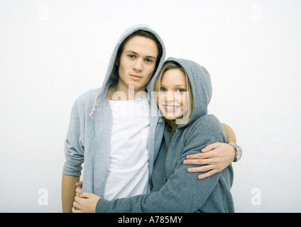 Woman wearing hooded sweatshirt, portrait Stock Photo ...