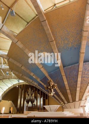 Interior view of the new church of Padre Pio in San Giovanni Rotondo, Renzo Piano architect, foggia, apulia, italy, - Stock Photo