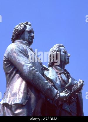 Germany Thuringia Weimar Goethe Schiller statue - Stock Photo
