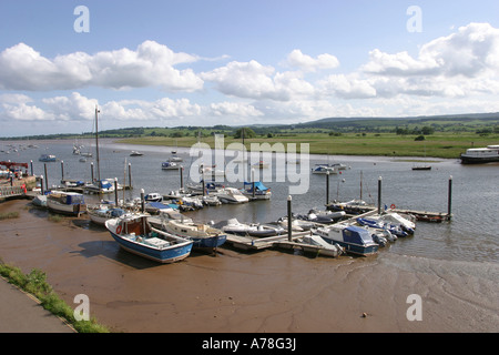 UK Devon Topsham boats at low tide on the River Exe - Stock Photo