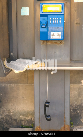 A telephone box with an open directory Smichov district Prague Czech Republic EU - Stock Photo