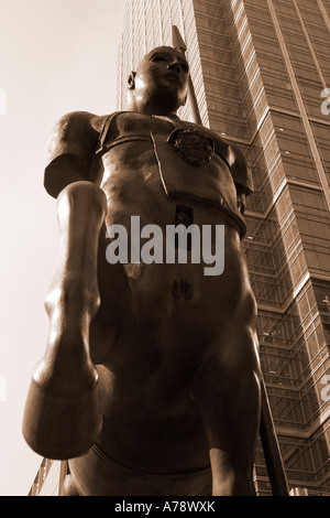 CENTAURO treated with sepia tint, accentuating the bronze quality of the sculpture by Igor   Mitoraj, at Canary - Stock Photo