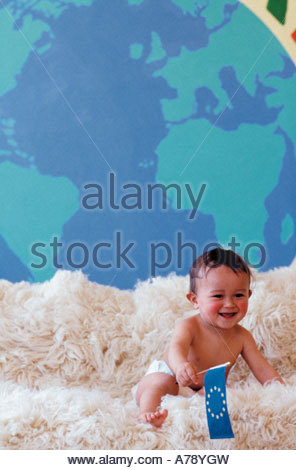 Baby with flag - Stock Photo