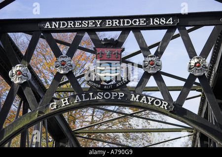 Andresey Bridge, Andresey Island, River Trent, Trent Washlands, Burton upon Trent, Staffordshire, England - Stock Photo