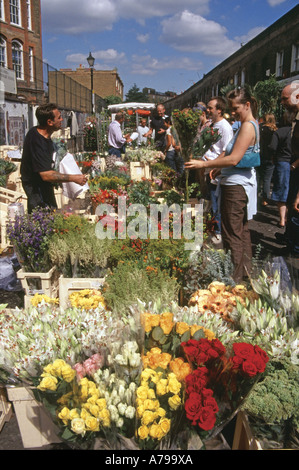 Columbia Road Sunday Morning Flower Market London England - Stock Photo