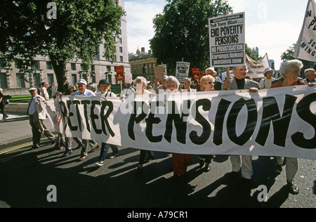 Westminster London pensioners demonstrate against low state pensions near Houses of Parliament England UK