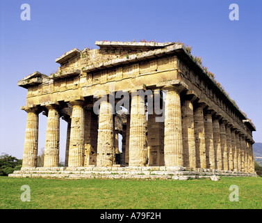 Greek temple of Neptune Paestum Italy - Stock Photo