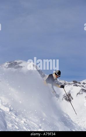 Skier Canadian Rockies - Stock Photo