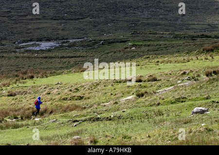 Determined Walk: A woman with hood up on a blue windbreaker and wearing a red backpack hikes with walking stick - Stock Photo