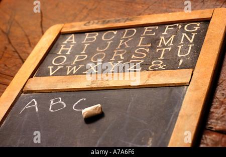 antique school chalkboard with ABC s written on it