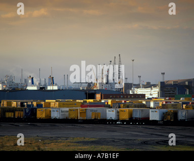 Container trailers and general view of Teesport, Teesside, England, UK. - Stock Photo