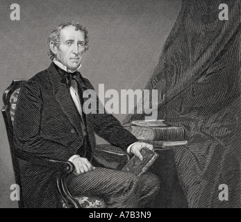 John Tyler, 1790 - 1862.  10th president of the United States of America. From a painting by Alonzo Chappel. - Stock Photo