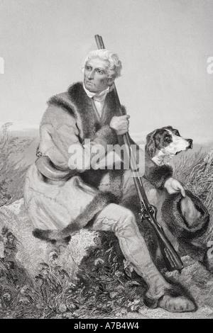 Daniel Boone, 1734 - 1820.  American pioneer, woodsman, frontiersman and legendary hero. - Stock Photo
