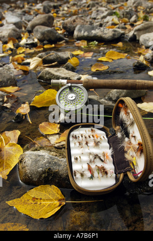 Idaho Mackay Big Lost River A fly box and rod laying on the river bank with bright yellow leaves during the fall - Stock Photo