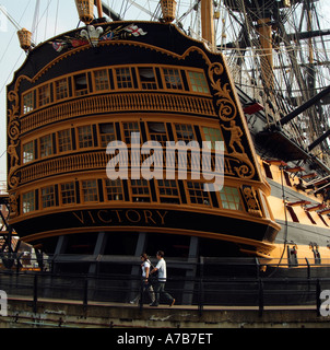 HMS Victory historic warship of the Royal Navy Portsmouth UK HMS Victory is the worlds oldest commissioned warship - Stock Photo
