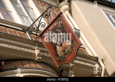 York Brewery pub sign Stonegate York North Yorkshire England UK United Kingdom GB Great Britain - Stock Photo