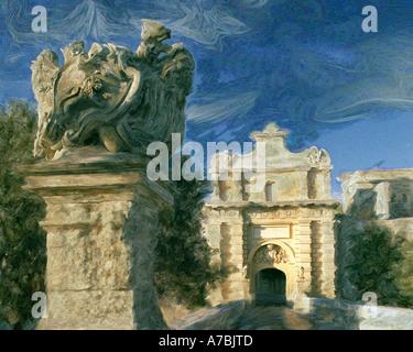 DIGITAL ART:  Notabile Gate at Mdina, Malta - Stock Photo