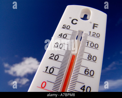 Thermometer displays a hot and sunny 28 degrees centigrade ( 82F) against a bright blue sky - Stock Photo