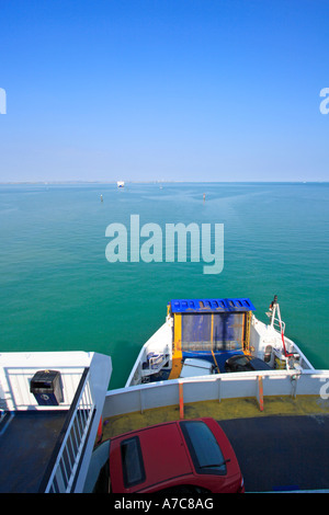 View from Car Ferry crossing British Solent waterway on summer's day - clear view - Stock Photo