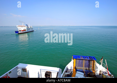 View from Car Ferry crossing British Solent waterway on summer's day - Stock Photo