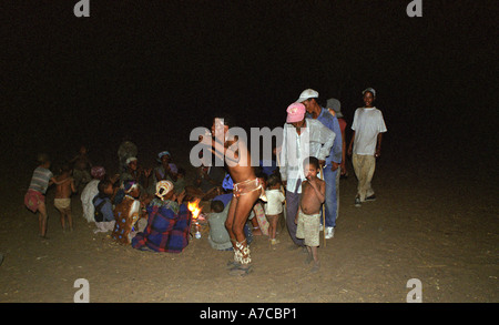 San Bushman Dancing village in night Botswana - Stock Photo