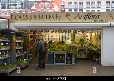 A flower shop at the Singel flower market in central Amsterdam - Stock Photo