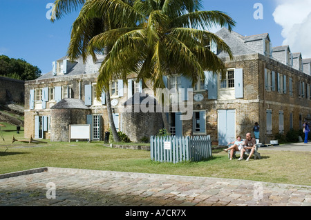 The old copper and lumber store has been converted to a small hotel and the Mainbrace pub, Nelson's Dockyard, Antigua - Stock Photo