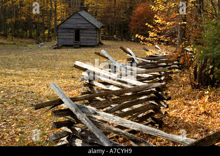 Historic Mountain Cabins off the Roaring Fork Motor Trail out of Gatlinburg, Tennessee - Stock Photo