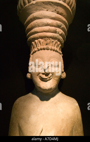 Hittite clay figure of a priest or king in traditional head gear - Stock Photo
