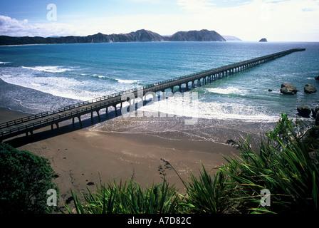 New Zealand s Longest Pier Tolaga Bay Eastland - Stock Photo