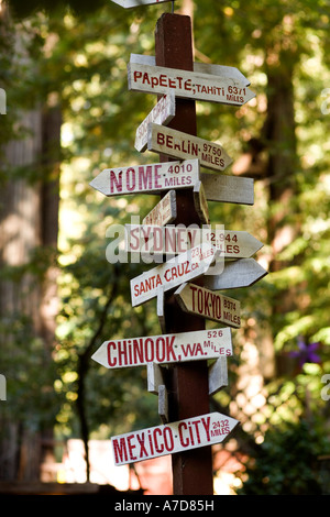 1000 places to see before you die: Signpost pointing to Papeete Berlin Nome Sydney Santa Cruz Tokyo Chinook Mexico City