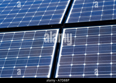 Array of solar panels producing electricity. Rows of monocrystalline photovoltaic solar cells. - Stock Photo