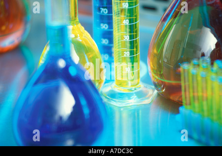 Laboratory flasks tubes and graduated cylinders - Stock Photo