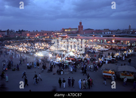 Main square of Djemaa El Fna in Marrakech in Morocco North Africa - Stock Photo