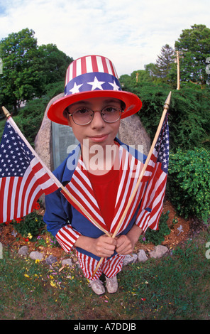 Student participent in Memorial Day observance - Stock Photo
