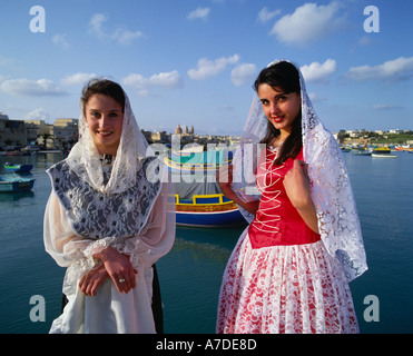 Women in National Costume Malta - Stock Photo