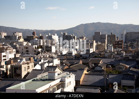 Semi aerial oblique high level view east from Ana Hotel of city of Kyoto Japan Asia - Stock Photo