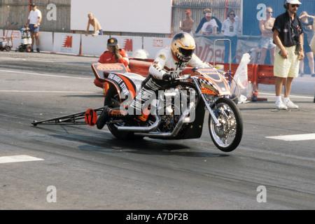Top Fuel Motorcycle Drag Racing At Santa Pod Stuart Crane On His