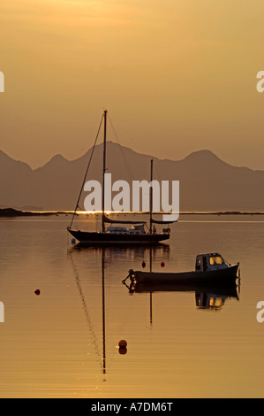 Isles of Rum Sunset in the Inner Hebrides Inverness-shire Highland Region Scotland.