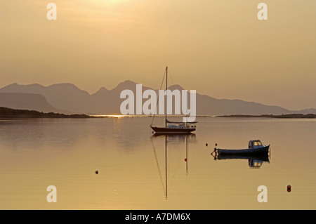 Isle of Rum Sundown Arisaig Scottish West Coast Inverness-shire UK - Stock Photo