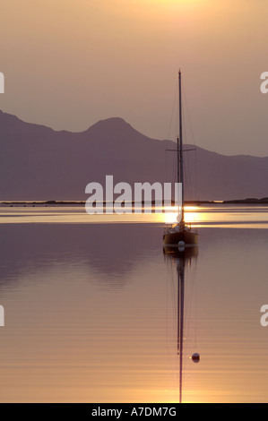 Isles of Rum Sunset in the Inner Hebrides Inverness-shire Highland Region Scotland. - Stock Photo